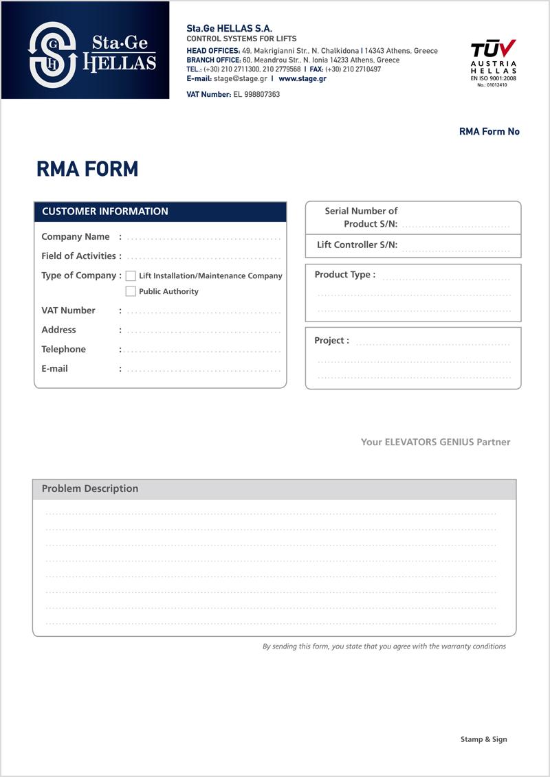 RMA-Formular